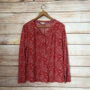 Boden Red Polka Dot Henley Jersey Knit Top